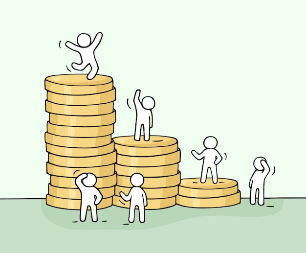 Sketch of working little people with stack of coins.