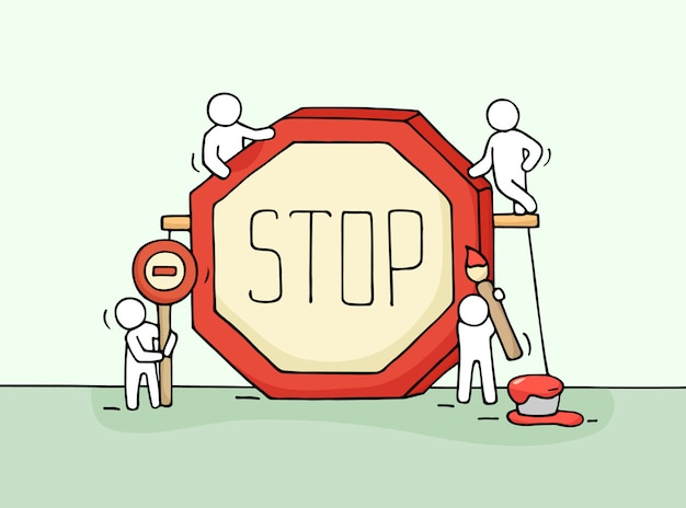 Sketch of working little people with stop sign.
