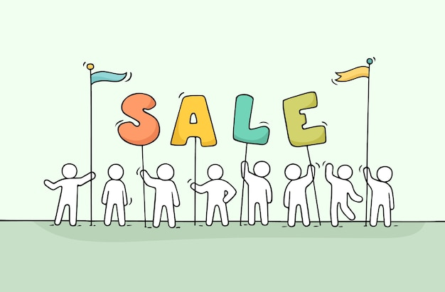 Sketch of working little people with word sale.
