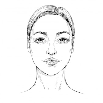 Sketch young woman face. front face. outline hand drawn illustration