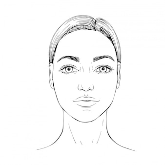 Sketch young woman face. front face. outline hand eawn illustration