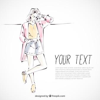 Schizzo di una giovane donna alla moda vestito