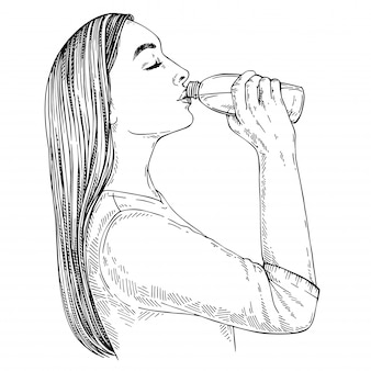 Sketch of young woman with long hair drinking water from bottle. hand drawn illustration.