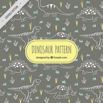 Sketched dinosaurs pattern