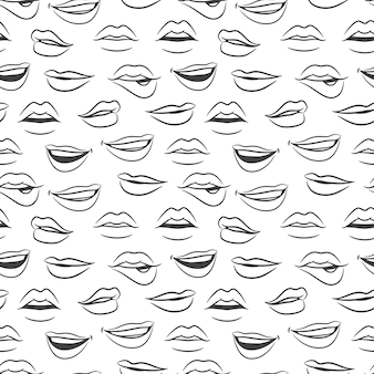 Sketched  female sexy lips seamless pattern