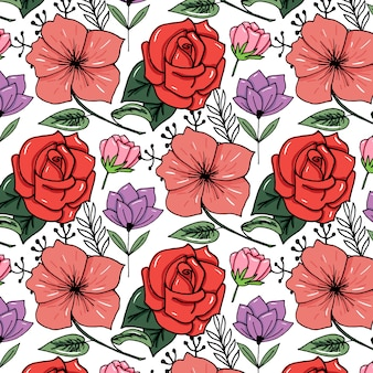 Sketched flower print in bright color background