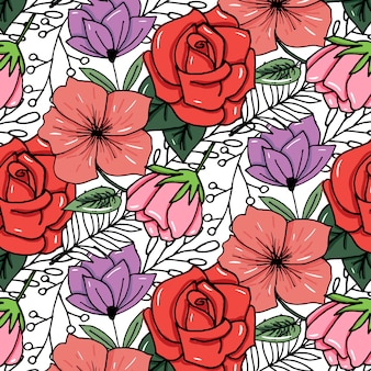 Sketched flower print in bright colors background