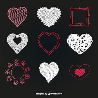 Sketched hearts and frame set