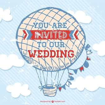 Sketched hot air balloon wedding card