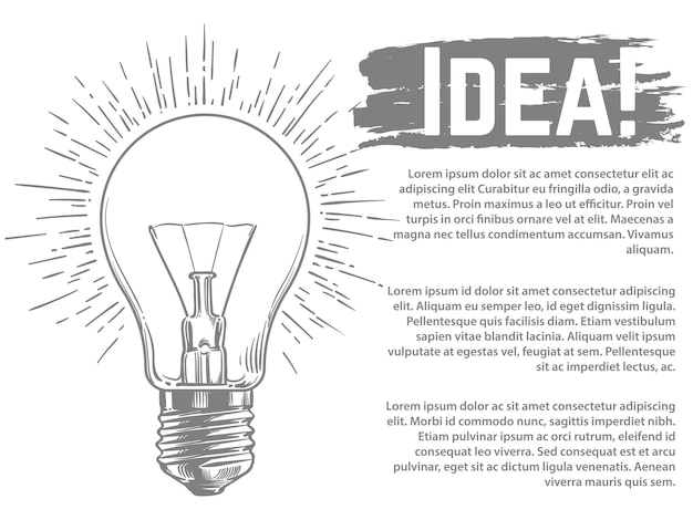 Sketched light bulb template