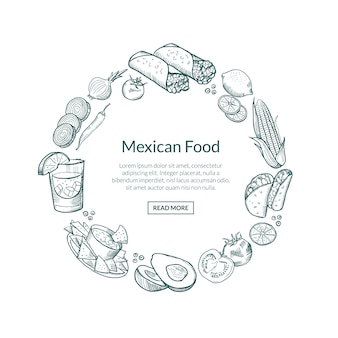 Sketched mexican food elements in form of circle with place for text in center. mexico meal tasty, food drawing chili and burrito, nachos and pepper