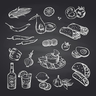 Sketched mexican food elements set on black chalkboard