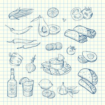 Sketched mexican food elements of set on cell sheet