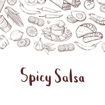 Sketched mexican food elements with place for text