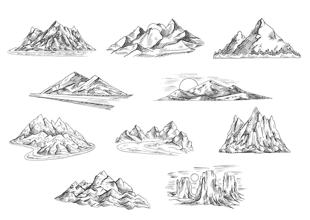 Sketched mountain landscapes icons for hiking tourism