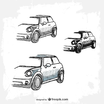 Sketched retro cars