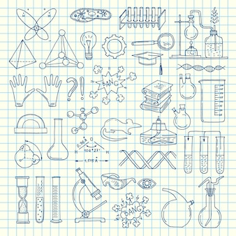 Sketched science or chemistry elements set