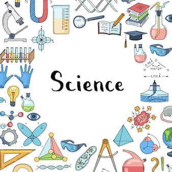 Sketched science or chemistry elements