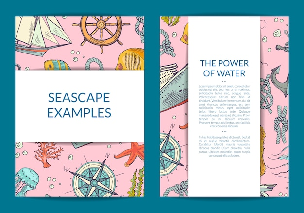 Sketched sea elements or brochure flyer template
