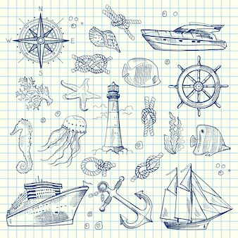 Sketched sea elements of set on notebook