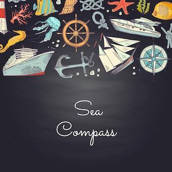 Sketched sea elements