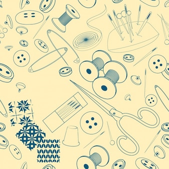 Sketched sewing elements pattern