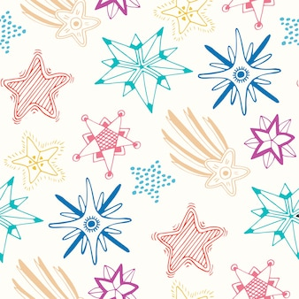 Sketched stars seamless pattern. childish colorful background for textile or wrapping