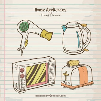 Sketches appliances with colors
