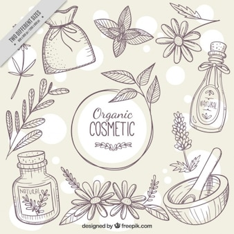Sketches background of natural cosmetics