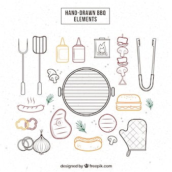 Sketches barbecue elements pack