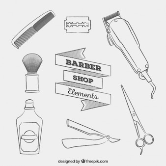 Sketches barber shop elements