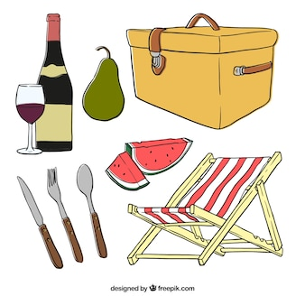 Sketches basket with picnic elements