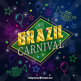 Sketches brazil carnival elements  background