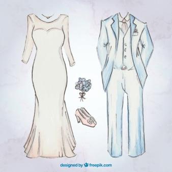 액세서리와 함께 신부 드레스와 웨딩 슈트를 스케치