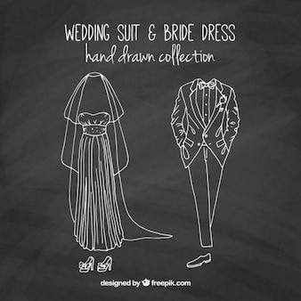 Sketches bride dress and wedding suit in blackboard effect