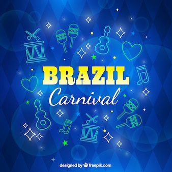 Sketches carnival elements blue background