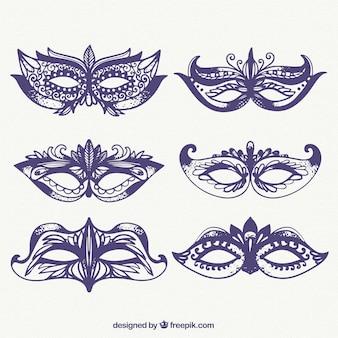Sketches of carnival ornamental masks pack