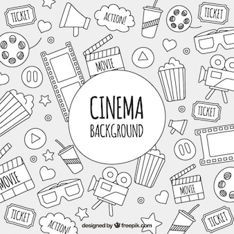 Sketches of cinema objects background