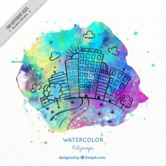 Зарисовки город с цветными акварель всплеск фоне