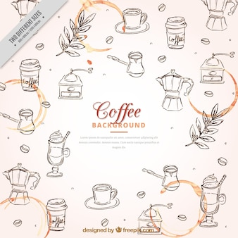 Sketches of coffee elements background