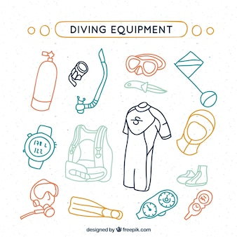 Sketches colored diving equipment