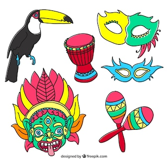 Sketches colourful carnival elements