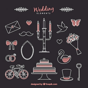 Sketches cute accessories for wedding couple
