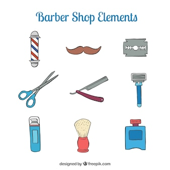 Sketches cute barber shop accesories