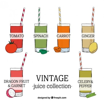 Sketches of delicious vegetable juices in vintage style