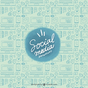 Sketches of devices and social networks background