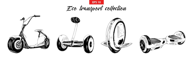 Sketches of electric transport, scooter, gyroboard