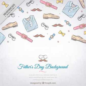 Sketches elements father's day background