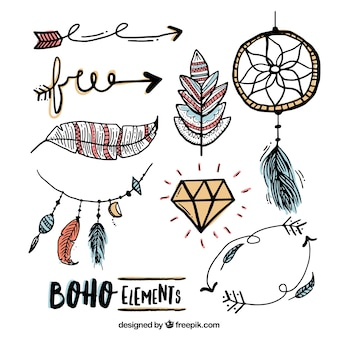 Sketches elements in boho style