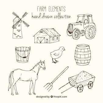 Sketches farm accessories and animals